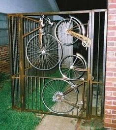 Gate made out of bikes woot