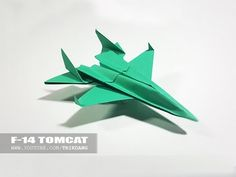 BEST ORIGAMI PAPER JET - How to make a paper airplane model | F-14 Tomcat - YouTube