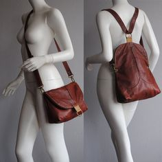 Lovely double use messenger/ backpack terracota with camel details, super soft UPCYCLED LEATHER.