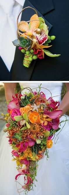 Tropical wedding bouquet and matching boutonniere. Tropical Wedding Bouquets, Floral Bouquets, Purple Wedding, Floral Wedding, Exotic Wedding, Modern Wedding Flowers, Tropical Colors, Tropical Flowers, Tropical Decor