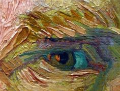 Close up of Vincent Van Gogh's eye. When I have a chance to see his paintings in real life I just stare at his painting closely, observing the oil painted texture and his vigorous strokes...