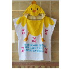 Poncho enfant motif canard jaune