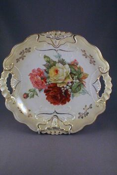 STUNNING RS PRUSSIA (UNMARKED) FLORAL GILDED