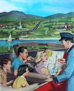 Family Vacation - detail from 1954 Esso road map cover.