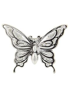 """Silver tone butterfly stretch ring. TOP FACE : 2 1/4"""" X 1 5/8"""""""