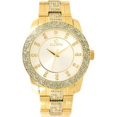 ELGIN Men's Light champagne Dial with-Greek Key patter on Bzl & Brcl Gold And Silver Watch, Gold Watch, Oversized Watches, Diamond Watches For Men, Greek Key, Rolex Watches, Bling, Crystals, Accessories