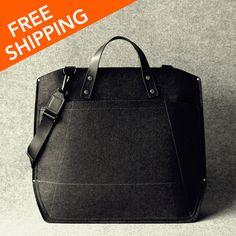 Leather and Wool Felt Portfolio Laptop Bag