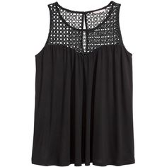 H&M+ Jersey top ($22) ❤ liked on Polyvore featuring tops, shirts, tank tops, tanks, black, plus size, button shirt, womens plus size shirts, plus size sleeveless shirts and plus size lace tops