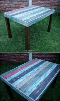 The table here is easy to create because the pallets don't need to be restyled by cutting them in a design; they need to be used straight as they are. The paints of different colors can be selected according to your choice for the funky look of the table.