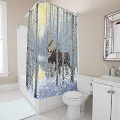 Moose In Winter Season Snow Watercolor Shower Curtain
