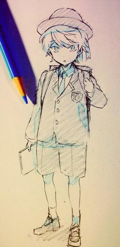 ✮ ANIME ART ✮ anime boy. . .young boy. . .child. . .school uniform. . .backpack. . .blazer. . .hat. . .pencil. . .graphite. . .sketch. . .doodle. . .shading. . .cute. . .kawaii