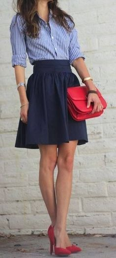 Full skirt, button down shirt