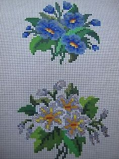 ORIGINAL 19th Century Hand painted FLORAL BERLIN WOOLWORK PATTERN by LEVY