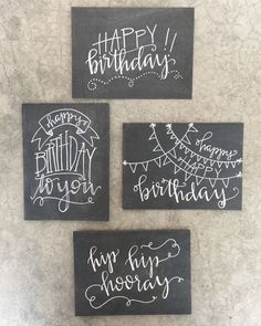 Black greeting cards with white writing ~