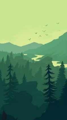 Firewatch landscape forest minimalistic iphone. #dinosaur #dinosaur #fond #ecran