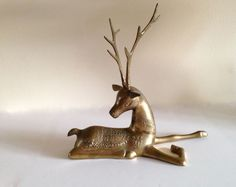 Large brass deer/ buck/ reindeer Mid Century by FromThenOn on Etsy