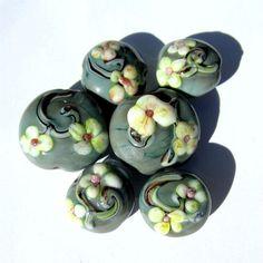 Lampwork Handmade Glass Lentil Beads gray by PomegranateGlass