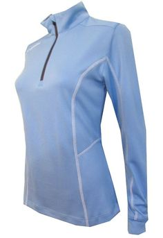 Need new golf apparel? Columbia  takes pride in offering women a variety of golf clothing. Buy this White Cap (Blue) Columbia Ladies Omni-Wick™ Shotgun 1/4 Zip Long Sleeve Pullover Shirt today from Lori's Golf Shoppe!