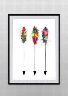 Feather Arrows Watercolor Art Print Archival Fine Art Print Children's Wall Art Wall Hanging