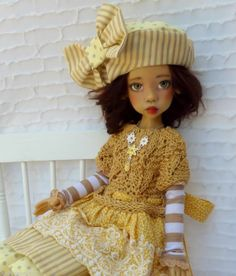 GOLDEN YELLOW SUMMER OUTFIT FOR MSD LAYLA KAYE WIGGS DOLLSTOWN DT7 BY BARBARA