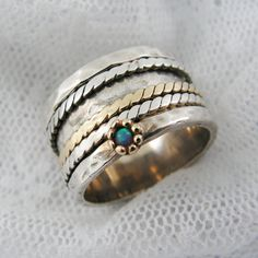 Sterling silver gold spinner ring. Opal spinner ring. by MayaOr,