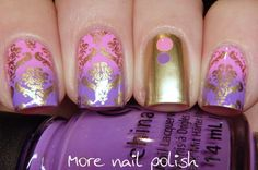 Pink and purple gradient with gold damask