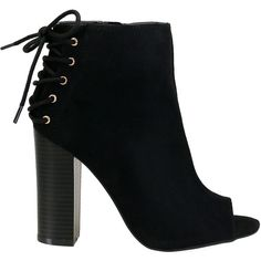 Stash-51S Black Back Lace Up Peep Toe Suede Booties (312.690 IDR) ❤ liked on Polyvore featuring shoes, boots, ankle booties, booties, black suede boots, peep-toe boots, suede booties, black booties and kohl boots