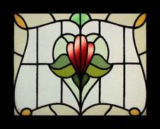 Art Nouveau Floral Antique English Stained Glass Window Stunning