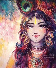 Shri Krishna Painting by Madhavi Tuli Little Krishna, Cute Krishna, Radha Krishna Love, Krishna Leela, Jai Shree Krishna, Radhe Krishna, Hanuman, Lord Krishna Images, Radha Krishna Pictures