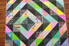 Girls in the Garden: Black Quilt with Bright Fabrics