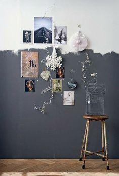 Un demi-mur gris anthracite peint à main levée