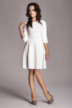 Ecru Fashion Flared Skirt Dress