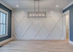 Dining accent wall - a contemporary take on wainscoating? Diamond pattern, monochrome, subtle focal point closing in the staircase and extending the accent wall Home Design, Interior Design, Interior Ideas, Design Ideas, Home Renovation, Home Remodeling, Diy Home Decor, Room Decor, Dining Room Wall Decor