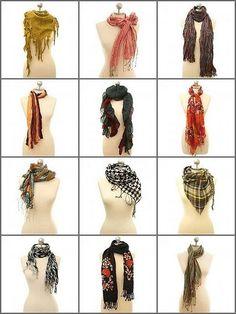12 ways to tie a scarf. by bridgette.jons