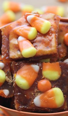 Halloween Crack an additive saltine toffee cracker with candy corn and peanut butter pieces! The new fall tradition!