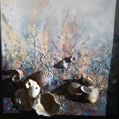 "Abstrakte Kunst goldene Meer * Signed ""eingerahmt"" bereit, Hang, Mysterious, Textured, verträumt, Seashells Kunst, romantische, Surreal, Liebe * Ocean, Sand..."