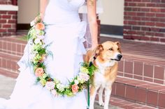 The #bride + her #beloved #dog, #Shiloh, before the #wedding. ::Katherine Marie + Greg's wonderful wedding at Rockmart First United Methodist Church in Rockmart, Georgia:: #flowers #floral #leash #doglover #dogsinweddings #weddingideas #bridalparty #fancyleash #prettyleash #weddingphotography #georgiawedding