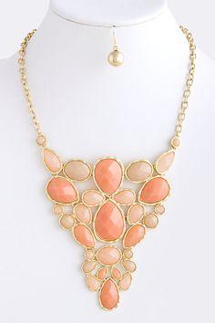 Peach & Coral Teardrop Jewel Statement Necklace by lawrenciablount, 28.00