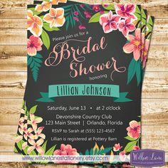 Chalkboard Tropical Bridal Shower Invitation - Island Flowers Hawaiian Luau Bridal Shower Invite - Wedding Shower - 1395 PRINTABLE