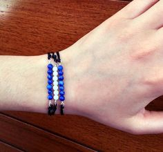 Bracelets, set of 3,  sterling silver bracelets, semi precious beads, black waxed silk cord, stackable bracelets, adjustable, jewelry - pinned by pin4etsy.com