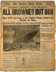 One of the best ways to learn about history is from newspapers, which is especially true for an event like the Titanic. Old newspapers are full of interesting artifacts modern day history books may have forgotten. Rms Titanic, Titanic Sinking, Titanic Boat, Titanic Wreck, Titanic Movie, Original Titanic, Newspaper Headlines, Newspaper Report, Interesting History