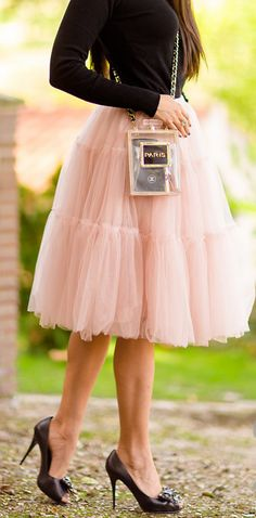 Pink tulle.