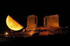 Moon and Temple of Poseidon