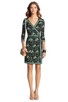Sewing inspiration: From DVF. The Tallulah Two is a classic wrap dress for all seasons. In a finely drawn floral with graphic contrast detail. True wrap style with 3/4 sleeves. In our signature silk jersey. Falls to above the knee. Fit is true to size.