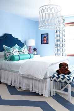 girls bedroom : worlds away light : custom quadrille wildflower curtains : surya rug : alisha gwen interior design