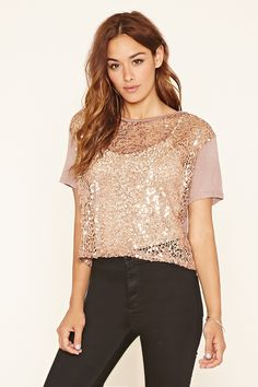 Crochet-Front Sequined Top | Forever 21 - 2000099636