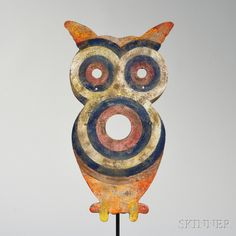 Large Polychrome Painted Owl Target. | Sold for $4,305 | Auction 2922M | Lot 761 Vintage Theme, Vintage Circus, Vintage Carnival Games, Push Toys, Bird Art, Decorative Objects, Shadow Box, Metallica, Folk Art