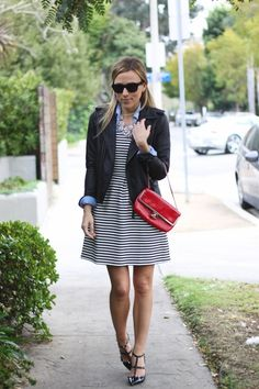 Leather + striped dress + button down