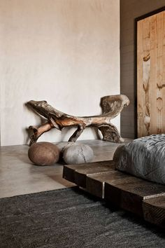 Raw wood furniture wabi sabi 17 ideas for 2019 Home Design, Interior Design, Wabi Sabi, Rustic Style, Modern Rustic, Modern Country, Raw Wood Furniture, Unique Vacations, Home By