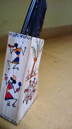 Just tried something different.Warli painting on knife holder!